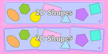 2D Shape Banner - 2D Shape display, shape display, shape banner, shape names, shape Pictures, Shape Words