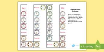 Wie spät ist es? Brettspiel - Zeit, Uhrzeit, lesen, Uhrzeit lesen, Zeit lesen, Analoguhr, Brettspiel, Würfel, würfeln, German