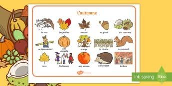 Set de mots sur l'automne - vocabulaire, citrouille, feuilles, marrons, halloween,l'automne