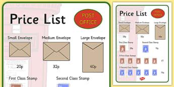Post Office Price List - post office, price list, role play, activity, prop