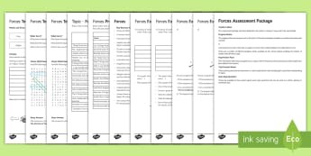 Forces Assessment Package - Assessment Package, forces, friction, drag, upthrust, balanced, unbalanced