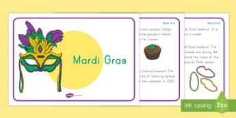 Mardi Gras USA Display Facts Posters - Mardi Gras, Carnival, Fat Tuesday, Shrove Tuesday, New Orleans, Parades, Lent, KS1, Celebrations