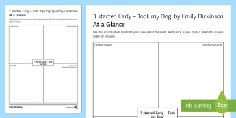 'I started Early - Took my Dog' by Emily Dickinson At A Glance Activity Sheet  - GCSE English Literature, Time and Place Cluster, Edexcel Poetry, Poetry Exploration, Exam Practice,