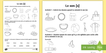 Feuille d'activités : Le son [s] - Son [s], Lecture, Français, Cycle 2, Cycle 1, Reading, Sound,French