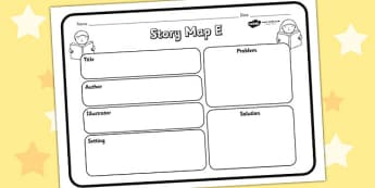 Story Map E Worksheet - story map E, story, stories, story map, story map worksheet, map stories, story worksheets, worksheets, literacy, english, reading