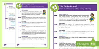 KS1 Take English Outside Teaching Ideas - KS1, key stage one, key stage 1, year one, year 1. y1, year two, year 2, y2, English, outdoor learni