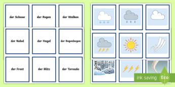 Types of Weather Snap Card Game German - German Games, German snap, German card games, German weather, German seasons, German climate.,Scotti