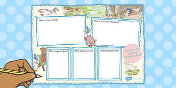The Tale of Jemima Puddle-Duck Book Review Writing Frame - puddle-duck