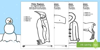 Polar Regions Colour by Number Counting Activity Sheet English/Italian - Polar Regions Colour by Number Counting Activity Sheet - polar regions, colour by number, colour, nu