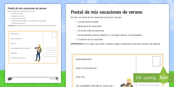 My Summer Holidays Structured Writing Postcard Spanish - holidays, writing, postcard, skills, end, term, travel, tourism, past, tense, structured