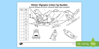 KS1 Winter Olympics Colour by Number Colouring Pages English/Romanian - recognising numbers, colouring in, olympics colouring, 2018, Y1 and Y2, EAL