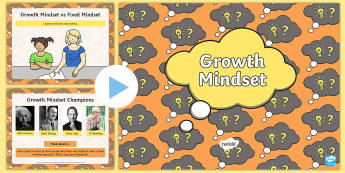 First Level Growth Mindset PowerPoint  - introducing growth mindset, cfe, 1st, personal development, fair, effort, never give up, determination