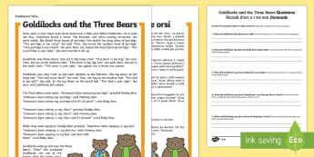 * NEW * Goldilocks and the Three Bears Differentiated Reading Comprehension Activity - English/Italian - Goldilocks, Goldilocks and the three bears, 3 bears, traditional tale, KS1 reading, comprehension, q