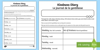 Kindness Diary Activity Sheet English/French - kindness, diary, worksheet, sheet, kindess, activity sheet, EAL French, French-translation