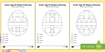Easter Egg Colour by 2D Shapes Activity Sheets - Worksheets, Easter, egg, Easter egg, colour, shape, flat,