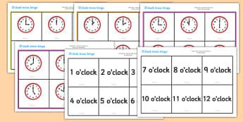 O' Clock Time Bingo - ESL Time Games