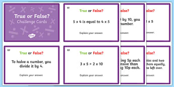 Multiplication and Division - True or False? Challenge Cards