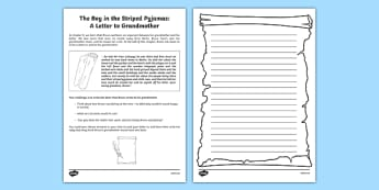 The Boy in the Striped Pyjamas A Letter to Grandmother Writing Activity CfE Second Level - Curriculum for Excellence, John Boyne, Bruno, write