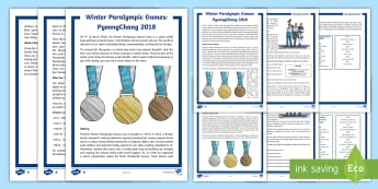 UKS2 Winter Paralympics Differentiated Fact File - events, winter, sports, aspire, retrieval
