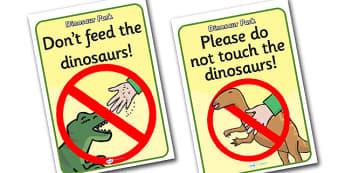 Dinosaur Park Role Play Signs - dinosaur park, display signs, dinosaur park role play, role play, dinosaur park display signs, dinosaur themed