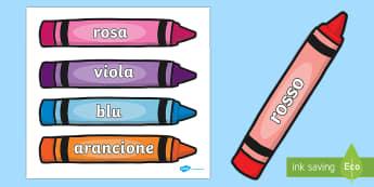 Nomi dei Colori sui Pastelli Parole Illustrate - i, colori, colorato, parole, illustrate, nomi, italiano, italian, amteriale, scolastico