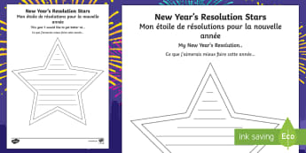 New Year Resolution Stars Activity Sheet English/French - new year, targets, resolutions, stars, improvements, changes, EAL, French