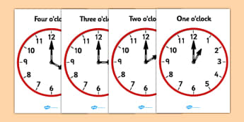 Analogue Clocks - Hourly O' Clock - ESL Telling the Time Resources