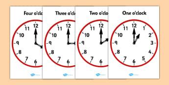 Analogue Clocks - Hourly O' Clock - Time resource, Time vocaulary, clock face, O'clock, half past, quarter past, quarter to, shapes spaces measures, numeracy, time, clocks