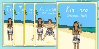 Māori Greeting Display Posters - Te Reo Māori Resources, Greetings