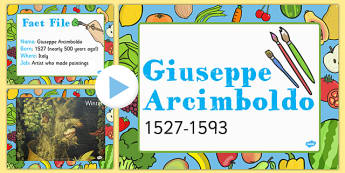 Food KS1 Giuseppe Arcimboldo Information PowerPoint Presentation, fruit faces,