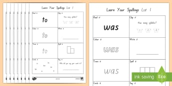 Learn Your New Zealand Essential Spelling List 1 Words Activity Sheets