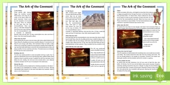 The Ark of the Covenant Differentiated Fact File - Retrieve and record information from non-fiction, Draw inferences such as inferring characters' fe