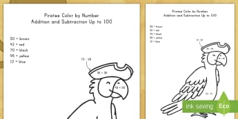 Pirates Color by Number Addition and Subtraction to 100 Activity Sheet - pirates, color by number, addition, subtraction, color recognition, worksheet, math center, problem-