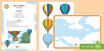 Hot-Air Balloon Sensory Bag -  balloons, up, down, opposites, conceptual, concepts, toddler play, sensory play, mess free play