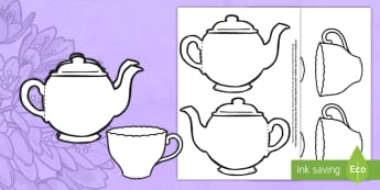 Mother's Day Card Blank Teapot Craft English/French - Mother's Day Card Blank Teapot Card Craft - mothers day, card, blank, teapot, EAL, English/French,