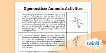 Twinkl Move - Y1 Gymnastics: Animals - Home Learning Tasks - Gymnastics, Indoor, Year 1, Y1, Key Stage 1, KS1, Gym, Exercise, Sport, Fitness, Animals, Science, j