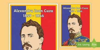 Alexandru Ioan Cuza - Planșă - Romanian History, istorie, Alexandru Ioan Cuza, Cuza, planșă, de afișat,de perete, domnitor, Mold