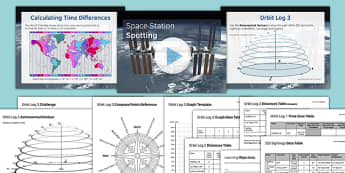 Space Station Spotting - maths, KS 3, KS 2, space, ISS, space station, geometry, angles, measure, time, world time zone, distance, speed, length, linear graph,