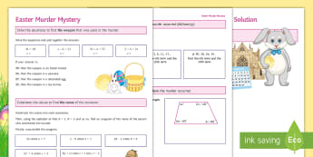 Easter Murder Mystery (Algebra) Activity Sheet - algebra, equation, solve, substitute, sequence, worksheet, angles, form equation, nth term