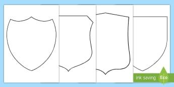 Mittelalterliches Wappen zum Selbstgestalten - Mittelatler, Burg, Ritter, Kampf, Malen, Ausmalen, Anmalen
