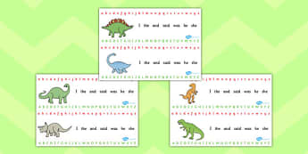 Alphabet Strips (Dinosaurs) - Alphabet, Learning letters, Writing aid, Writing Area, Dinosaur, dinosaurs, history, t-rex, stegosaurus, raptor, iguanodon, tyrannasaurus rex