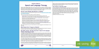 Parents' Guide to Speech and Language Therapy Parent and Carer Information Sheet - early years, speaking, vocabulary, family, support