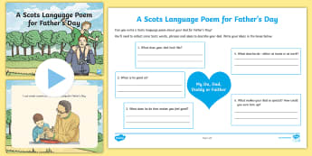 A Scots Language Poem for Father's Day  Activity Pack - scottish, Scotland, events, writing, dialect, creating texts, poetry, perform