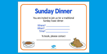 Elderly Care Hydration and Nutrition Week Sunday Dinner Poster - Elderly, Reminiscence, Care Homes, Hydration and Nutrition Week