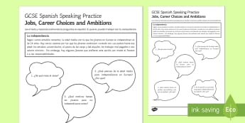 Jobs, Career Choices and Ambitions Speaking Practice Worksheet / Activity Sheet - Spanish Speaking Practice,family, speaking, Jobs, Career Choices, Ambitions, gcse spanish worksheet