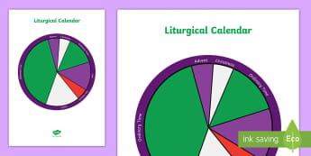Liturgical Calendar A4 Display Poster - Liturgical colours, Liturgical calendar, religious seasons, advent, easter, ordinary time,Scottish