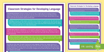 Deaf Education Strategies for Supporting Language Development Display Poster - ToD, sign language, teaching strategies, audiology, SSE, BSL, teaching english to deaf