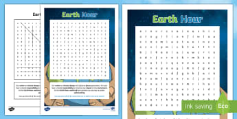 Earth Hour Word Search - Earth Hour, climate change, responsibility, impact, environment, switch off, sustainability,Australi