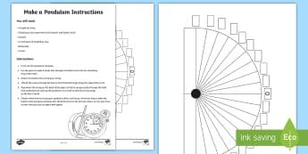 Make a Pendulum Print-Out - pendulum, time, measures, print-out, template, maths,Irish