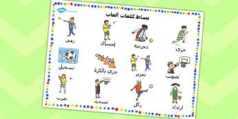 بساط كلمات ألعاب رياضة بدنية عربي